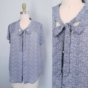 Joie silk tie front button up blouse NWT